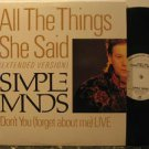 """SIMPLE MINDS usa 12"""" ALL THE THINGS SHE SAID Pop PROMO AM excellent"""