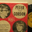 """PETER & GORDON brazil 45 A WORLD WITHOUT ME 7"""" Rock PICTURE SLEEVE ODEON"""