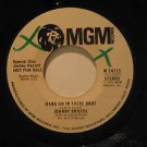 """JOHNNY BRISTOL usa 45 HANG ON IN THERE BABY 7"""" Rock PROMO/WHITE LABEL/WRITING ON"""