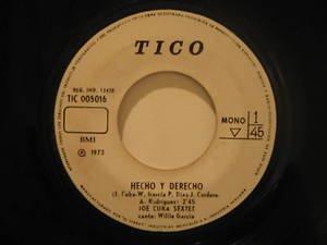 """JOE CUBA peru 45 HECHO Y DERECHO/LA CALLE ESTA DURISIMA 7"""" Latin TICO"""