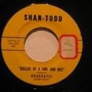 """GRADUATES usa 45 BALLAD OF A GIRL AND A BOY/CARE 7"""" Rock STICKER ON LABEL SHAN-T"""