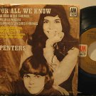 """CARPENTERS mexico 45 FOR ALL WE KNOW 7"""" Pop PICTURE SLEEVE AM"""