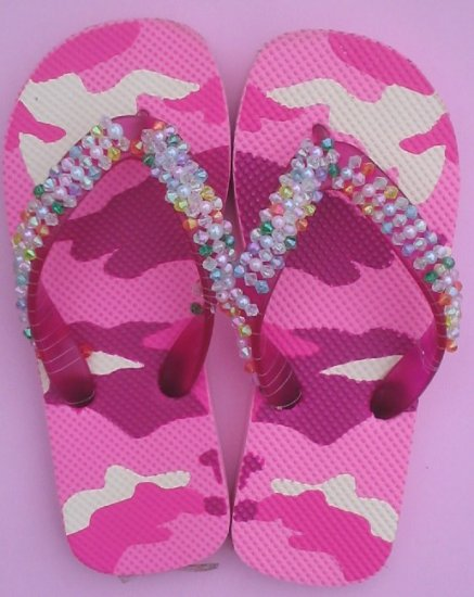 Beaded Camo Flip Flops for Girl's
