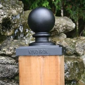"Nuvo Iron 6""x 6"" (5.5""x5.5"") BALL POST CAP PCB04 black fences fencing decorative"