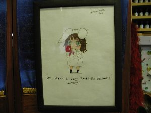 An apple Original drawing by Artist Olivia Lette