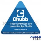 """These premises are protected by Chubb"" Triangular Alarm Window & Door Sticker X2 PCS"