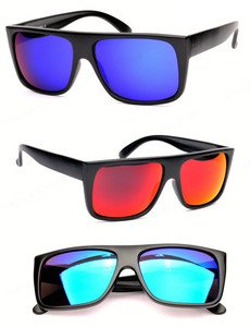 FLAT-TOP Retro black to the future sunglasses mirrored lens 80s crazy stylish