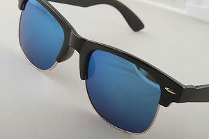 Gloss Black frame Sunglasses With Blue mirrored lenses retro 50s baller style