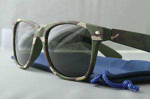 Woodland Camo Sunglasses With Dark Smoke lenses retro 80s chum lee style green