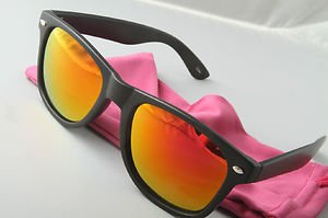 Matte Black Sunglasses With Pink Sunset mirrored lenses retro 80s vintage style