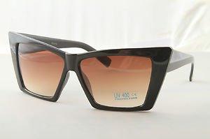Retro Black Crazy Cat eyes sunglasses women's unique designer shades gradient