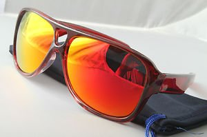 Funky Red mirrored aviator sunglasses stunna 80s dispatch style With Pouch