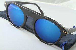 Funky mad scientist Retro claypool sunglasses Blue mirrored lens 80s style