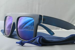 Blue/Blue Funky Matte Flat Top crazy 80s mirrored sunglasses retro style