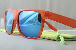 Crystal Orange FLAT-TOP Retro 80s throwback sunglasses mirrored lens stylish