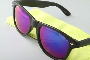 Matte Black Sunglasses With Purple mirrored lenses retro 80s vintage style