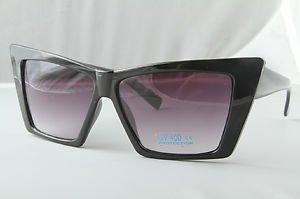 Black Retro Crazy Cateyes sunglasses ladies unique designer shades Black lenses