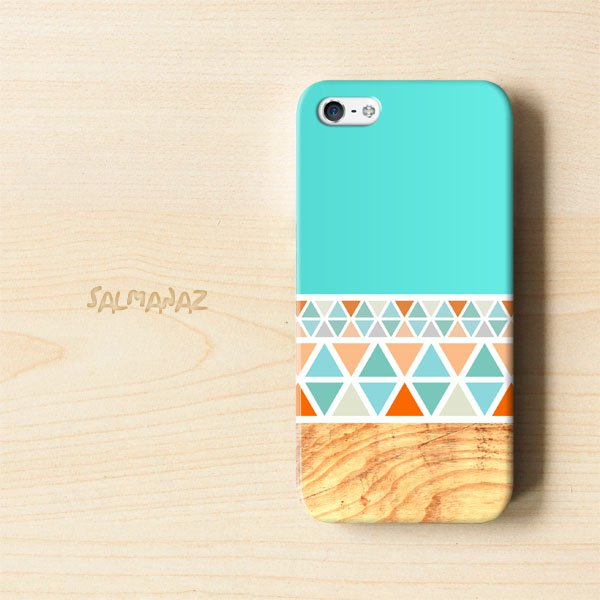 Geometric Wood IPhone 5 3D Case, Geometric Mint Wood IPhone 5 3D Cover