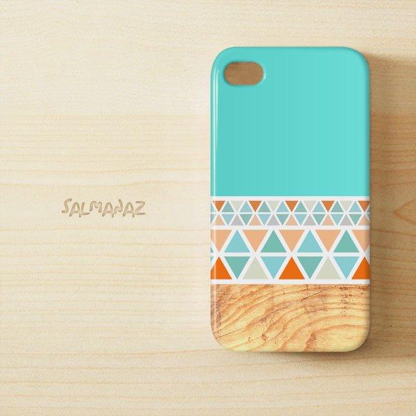 Geometric Wood IPhone 4 4s 3D Case, Geometric Mint IPhone 4 4s 3D Cover