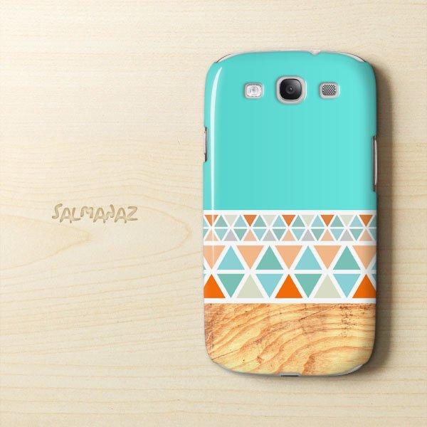 Geometric Wood Samsung Galaxy S3 I9300 3D Case, Geometric Mint Galaxy S3 I9300 3D Cover