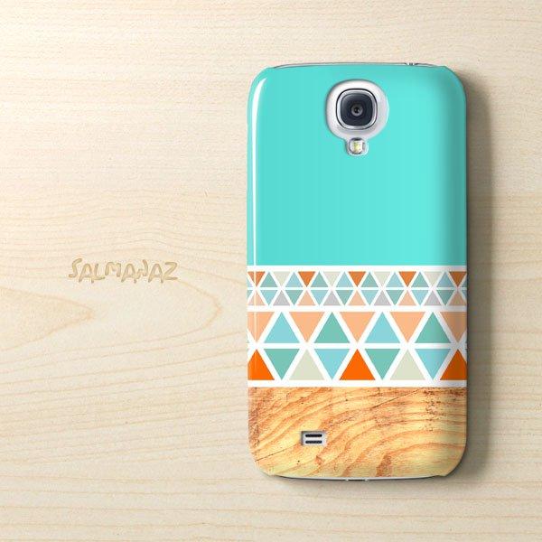 Geometric Wood Samsung Galaxy S4 I9500 Case, Geometric Mint Wood Galaxy S4 I9500 Cover