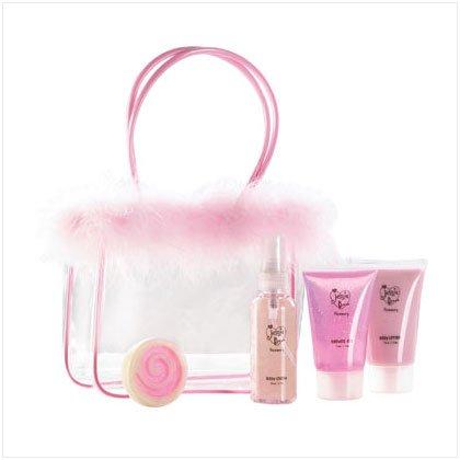 Strawberry Bath Set in Maribou Bag
