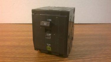 Square D QO Circuit Breaker (QO330) 30Amp 240Volt 3Pole 10kA *NOB*