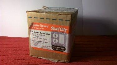 """Steel City Box of 10 1-Gang 4"""" Square 1/2"""" Raised Metal Covers GFCI & Duplex (RS19-10R) *NIB*"""