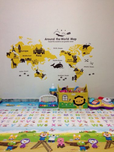 Nursery World map wall sticker for Kids baby room