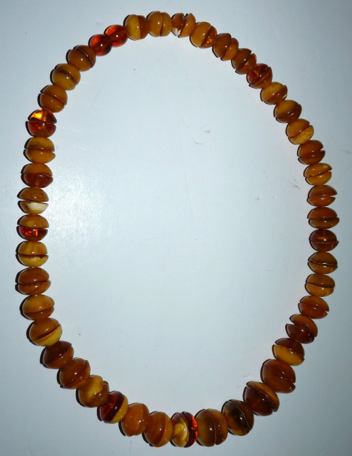 OOAK Vtg 111.5gr Genuine BALTIC AMBER Butterscotch+Egg Yolk Beads Necklace RARE