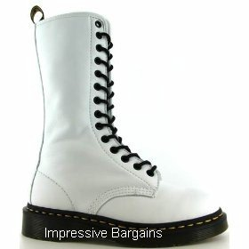 Dr. Doc martens White Nappa 14 Eyelet Boot Sz 7 NEW