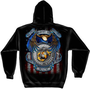 Military USMC The True Heroes Who Never Made It Home Hooded Sweatshirt L or XL