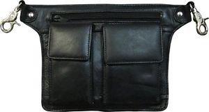 Genuine Leather Black Hip Bag 2 Zip Pockets Shoulder Strap Included 8 x 6.5 x 3