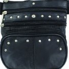 "Genuine Leather Black Studded 4 zip Hip Bag Detachable Strap Included 7.5""x7.5"""