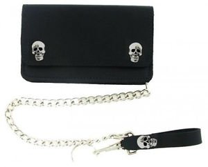 Black Biker/Trucker Skull & Bone Leather Organizer Chain Wallet Made in USA