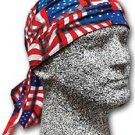 iAmerican Flag Repeat Headwrap,Doo Rag,Bandana 100% Cotton Terry Cloth Headband