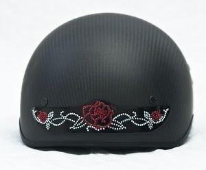 Red Rose Rhinestone Motorcycle, Bicycle, ATV Helmet Patch  8 x 1 3/4