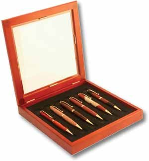 6 Pen Cherry finish Collector Box