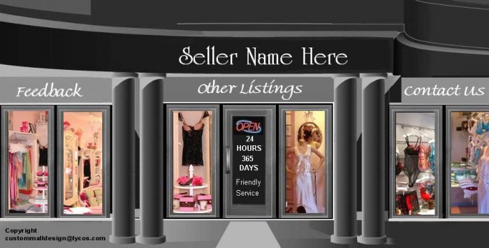 Sexy Lingerie Clothing Mall Auction Template or Web Site Header Logo With Custom Links