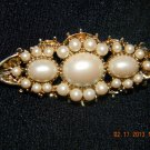 Gold Toned Brooch w/Pearl Like Stones