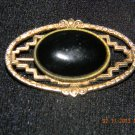 Gold Toned & Onyx Like Stone Brooch