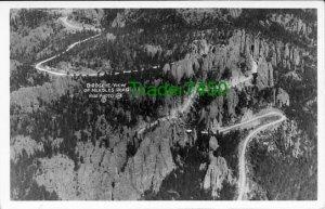 RPPC-Birdseye View of Needles Road-Black Hills-SD-c1935