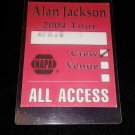Alan Jackson Crew 2004 Tour April 16th Authentic Laminate Pass NAPA
