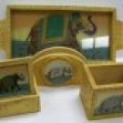 Wooden & semi-precious Gemstone Artwork Dinnerware Set