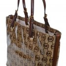Michael Kors JET SET ITEM BGE/EB/MOCHA Grab Bag Mono Coated Jacquard
