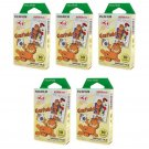 5 Packs Garfield FujiFilm Fuji Instax Mini Film, 50 Instant Photos Polaroid 7S 8 25 50S 70 X131