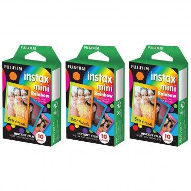 3 Packs Rainbow FujiFilm Fuji Instax Mini Film, 30 Photos Polaroid 7S 8 25 70 X149