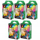 5 Packs Rainbow FujiFilm Fuji Instax Mini Film, 50 Photos Polaroid 7S 8 25 70 X149