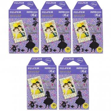5 Packs Disney Alice in Wonderland FujiFilm Fuji Instax Mini Film, 50 Photos Polaroid 7S 8 70 X234