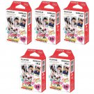 5 Packs Disney Mickey and Friends FujiFilm Fuji Instax Mini Film, 50 Photos Polaroid 7S 8 70 X236